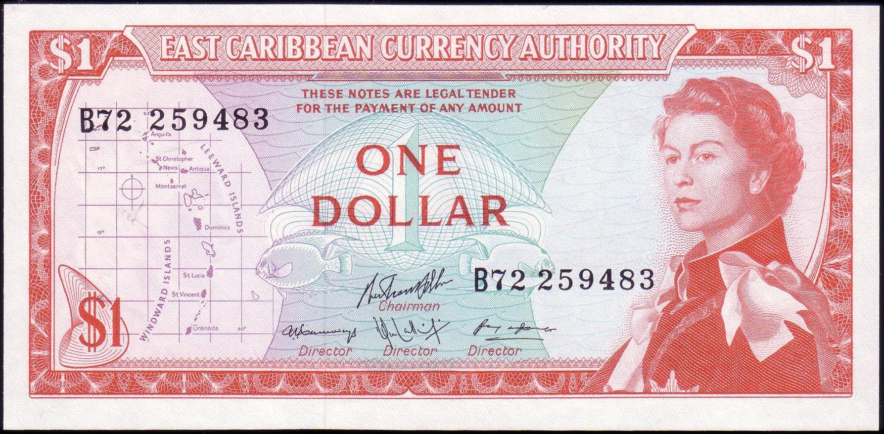 14 H 1965 East Caribbean States 5 Dollars Aunc P